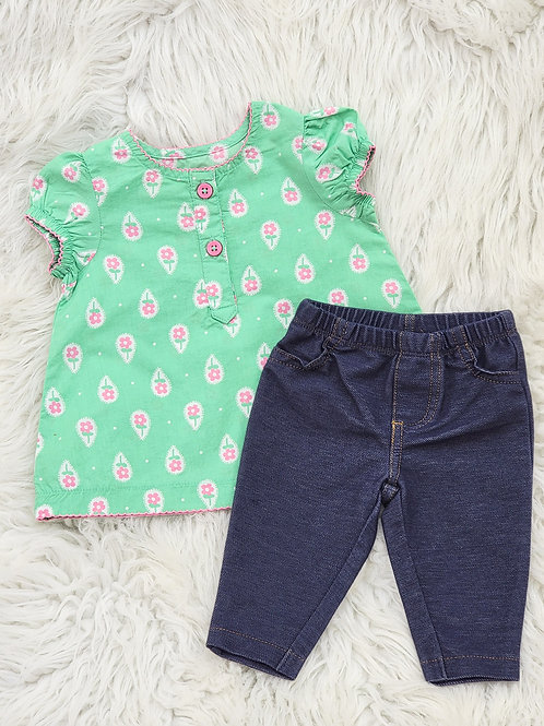 'Carters' Green Floral Top+ Jeggings  3 months