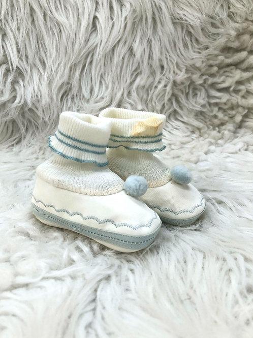 Vintage Light Blue & White Crib Shoes| Size 1