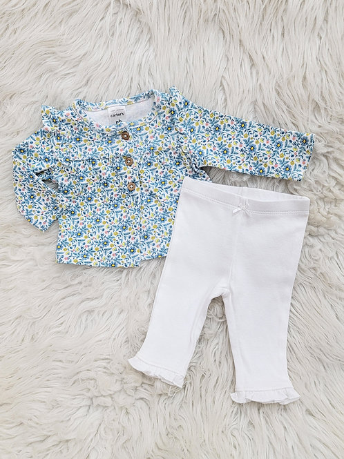 'Carters' Floral Top + White Pants | NB