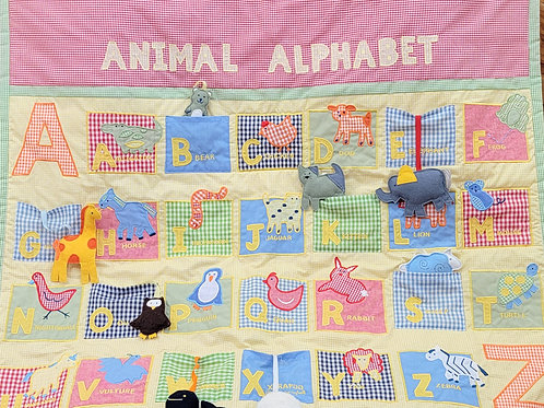 'Pottery Barn Kids' Gingham Quilted *animal alphabet*