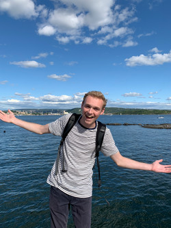 Excited to board a ferry in Norway