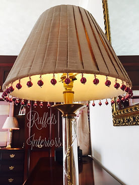 hand pleated silk coolie lampshade with bead trim