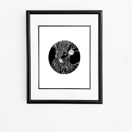 Black Moon Lady Print