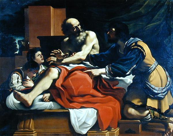 Jacob Blessing Ephraim and Manasseh. painting by Guercino