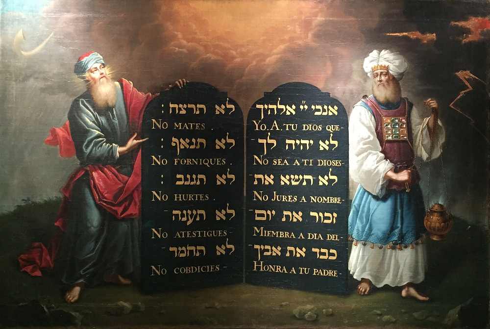 Moses and Aaron with the Ten Commandments, painting by Aron de Chavez (c. 1675)