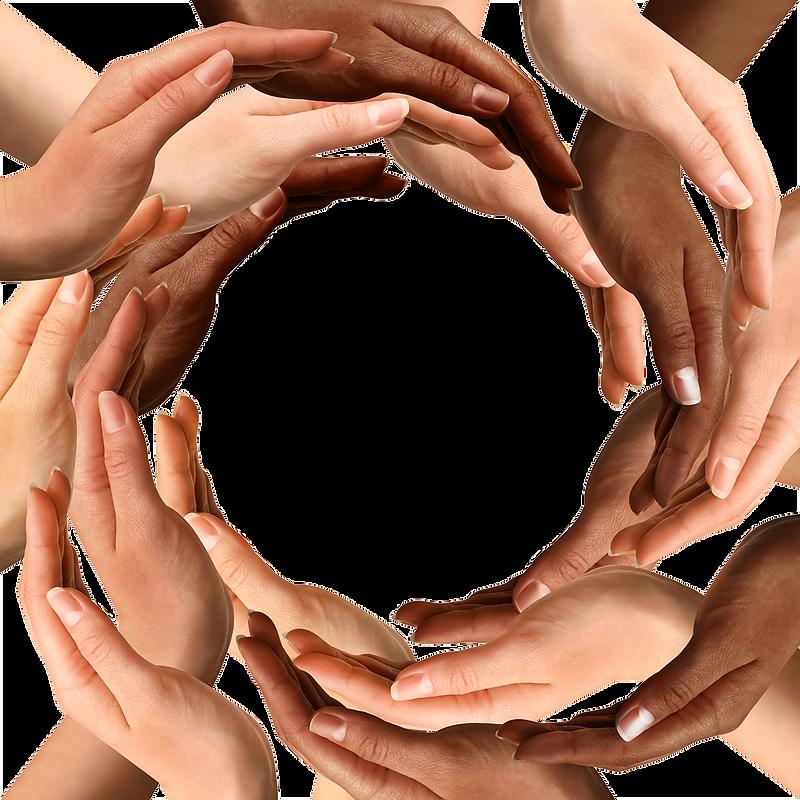ידיים במגוון צבעי עור עוטפות ברכות