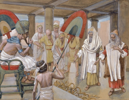 The Rod of Aaron Devours the Other Rods, c. 1896-1902, by James Jacques Joseph Tissot (French, 1836-1902), gouache on board, 8 3/4 x 11 9/16 in. (22.3 x 29.4 cm), at the Jewish Museum, New York