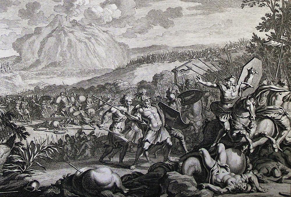 The Phillip Medhurst Picture Torah 419. Joshua fighting Amalek. Exodus cap 17 vv 8-13