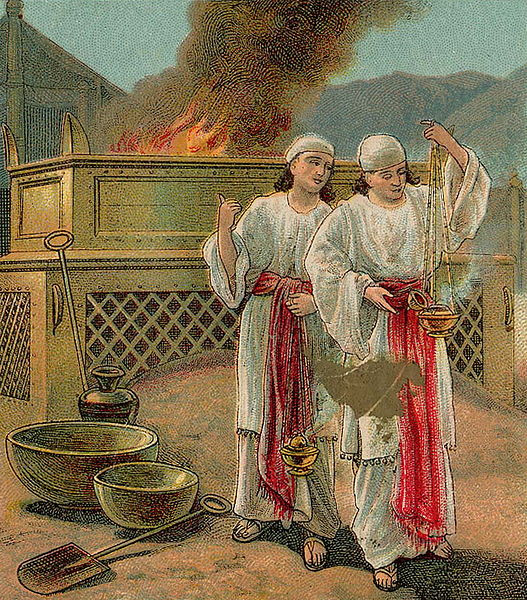The Sin of Nadab and Abihu, as in Leviticus 10, illustration from a Bible card published 1907 by the Providence Lithograph Company