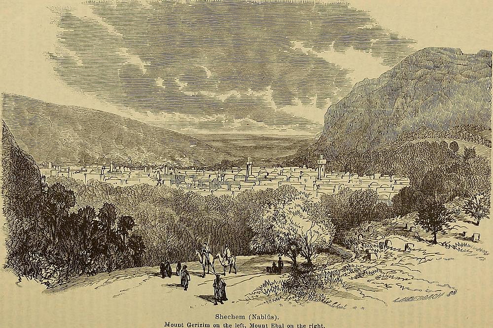 Shecehem (Nablus). Mount Gerizim on the left, Mount Ebal on the right