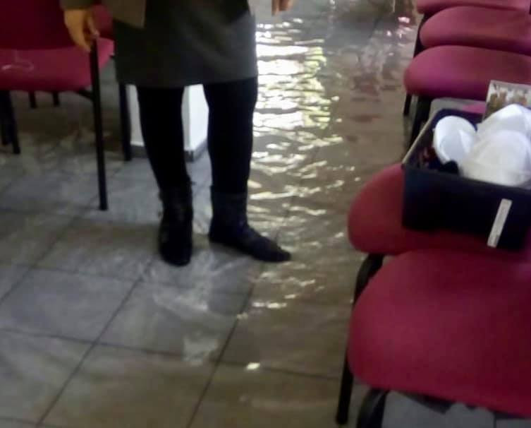 "Kehillat ""Natan Ya""  synagogue flooded by a garden hose."