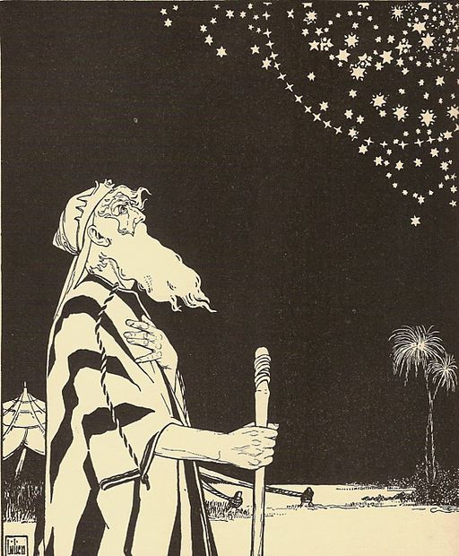 Abraham contemplates the Stars, The Books of the Bible, German edition Author Ephraim Moses Lilien (1874–1925)