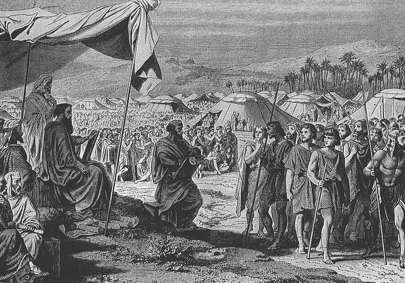The Numbering of the Israelites, as in Numbers 1, engraving by Henri Félix Emmanuel Philippoteaux (1815–1884)