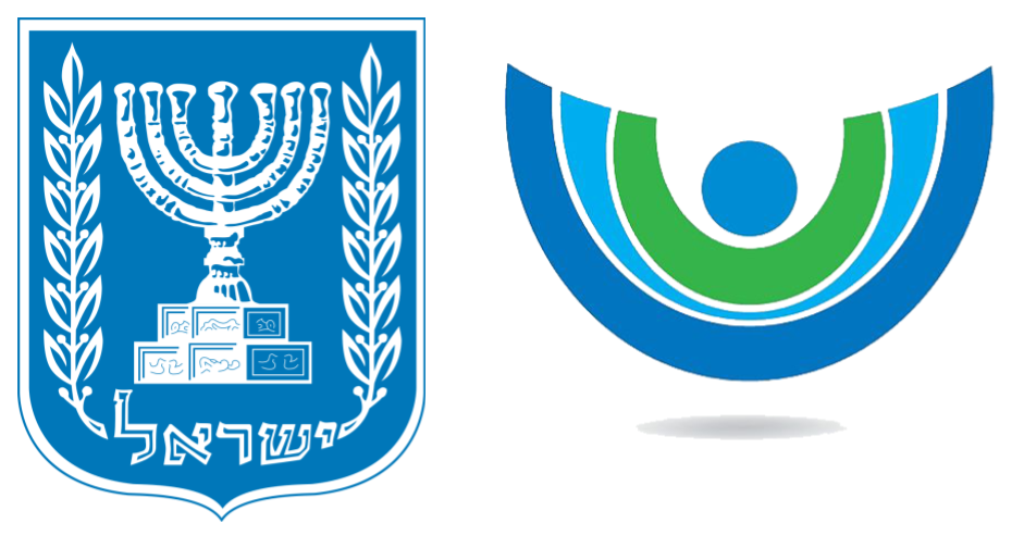 Emblem of Israel and the logo of the IMPJ