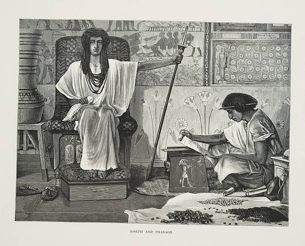 Depiction of Joseph reading to the Pharaoh.