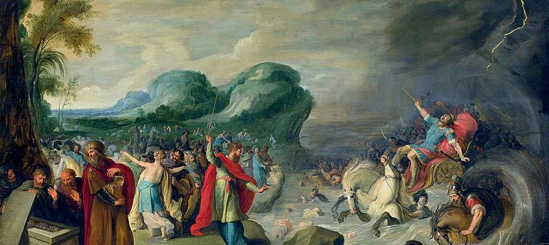 Crossing of the Red Sea painting by Hans III Jordaens, second quarter of 17th century,oil on oak