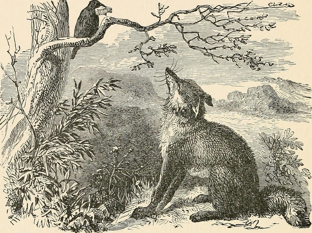 Aesop fable of the fox and the crow