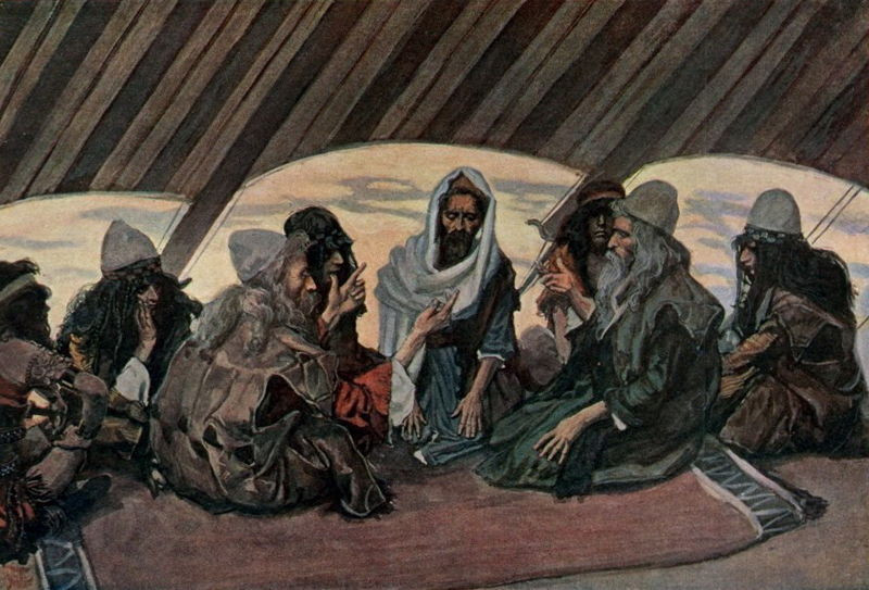 Jethro and Moses, as in Exodus 18, watercolor by James Tissot