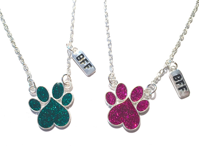 Glitter Paw Print BFF Necklaces