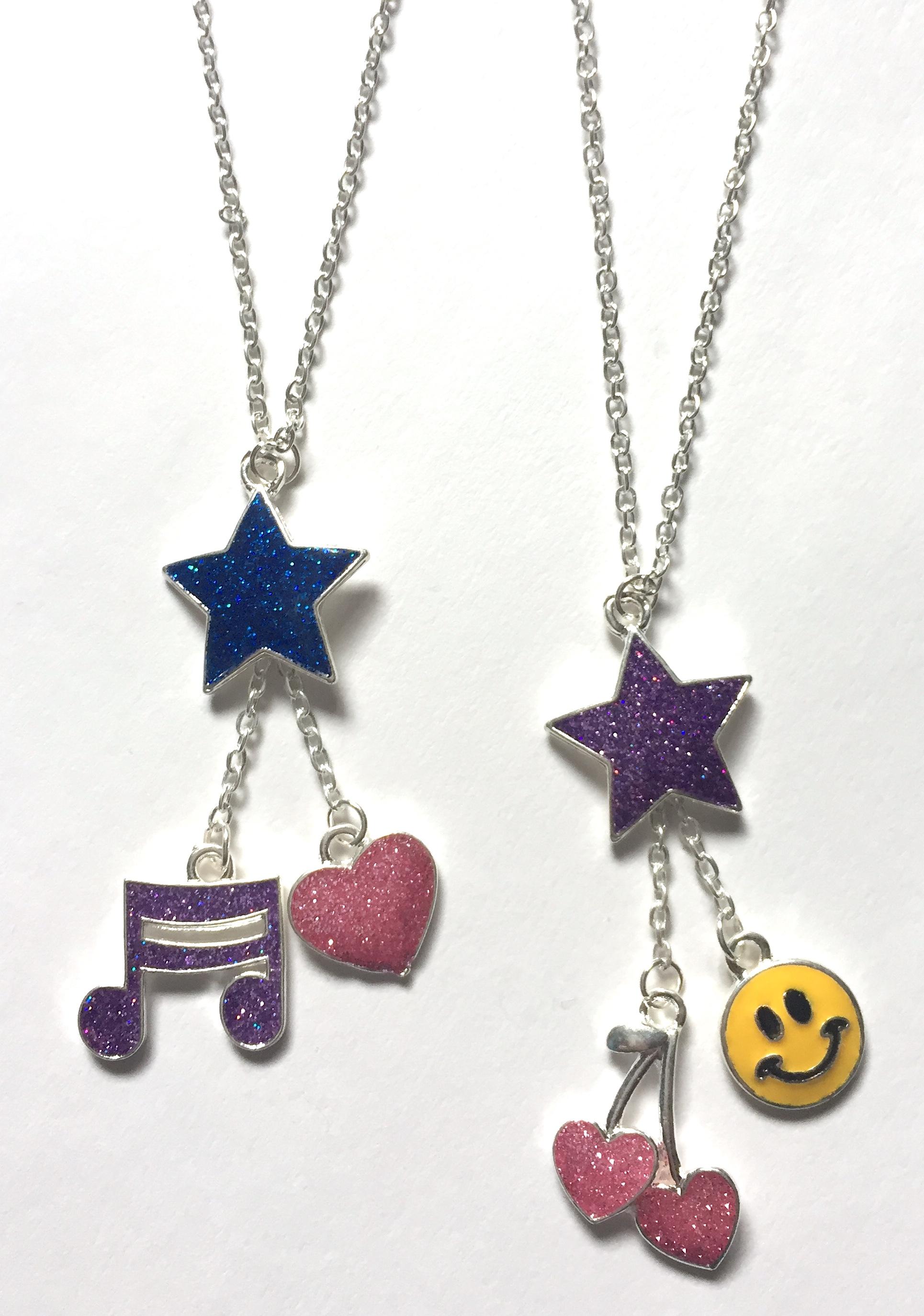 Glitter Multi-Charm Necklaces
