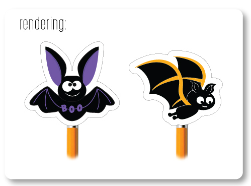 Bat Eraser Pencil Topper Rendering