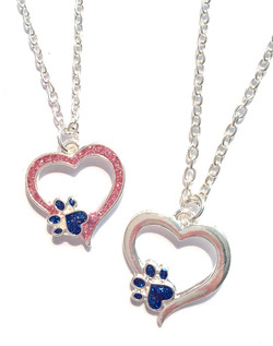 Glitter Paw Print Necklaces