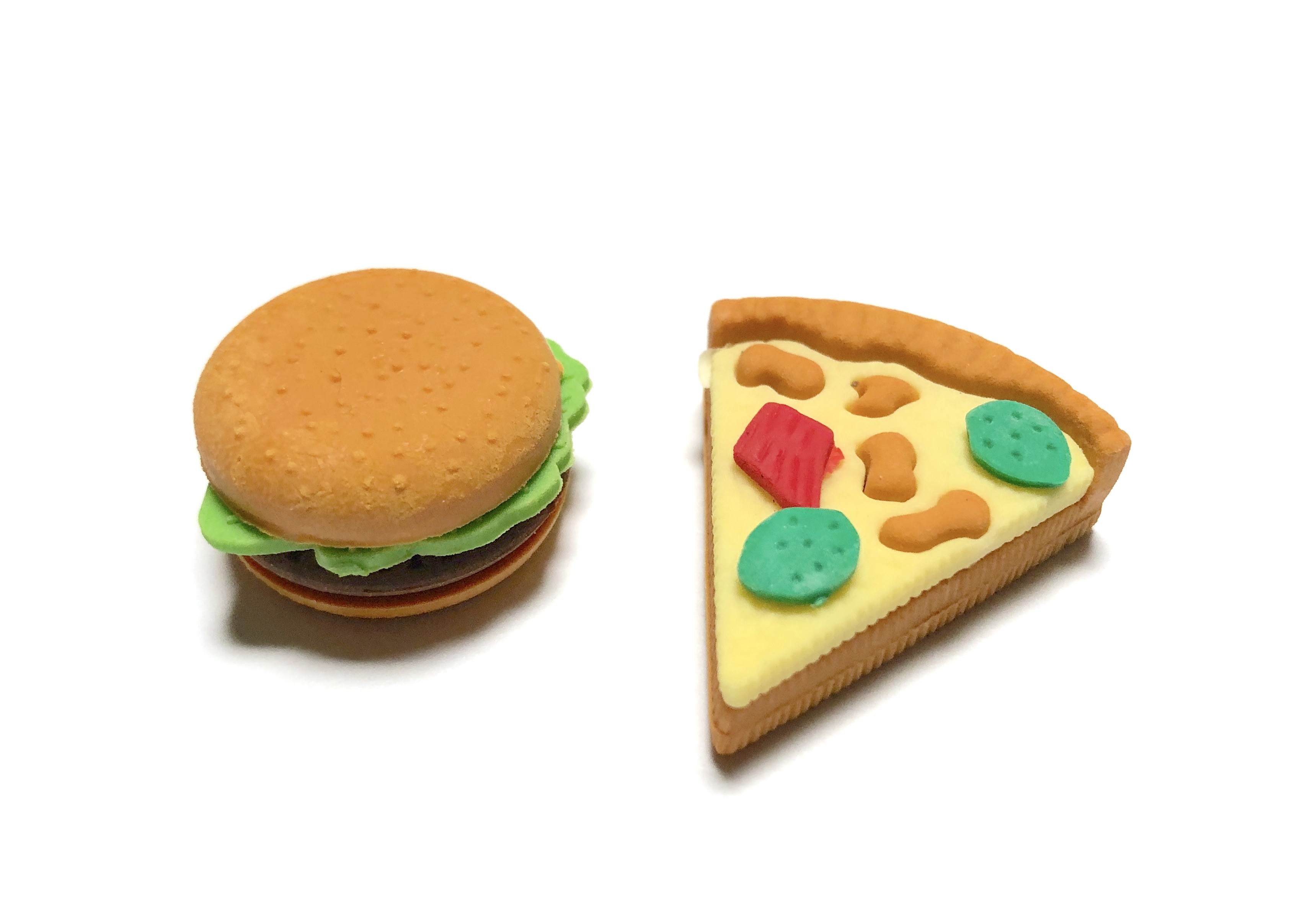 Pizza and Burger Eraser Set