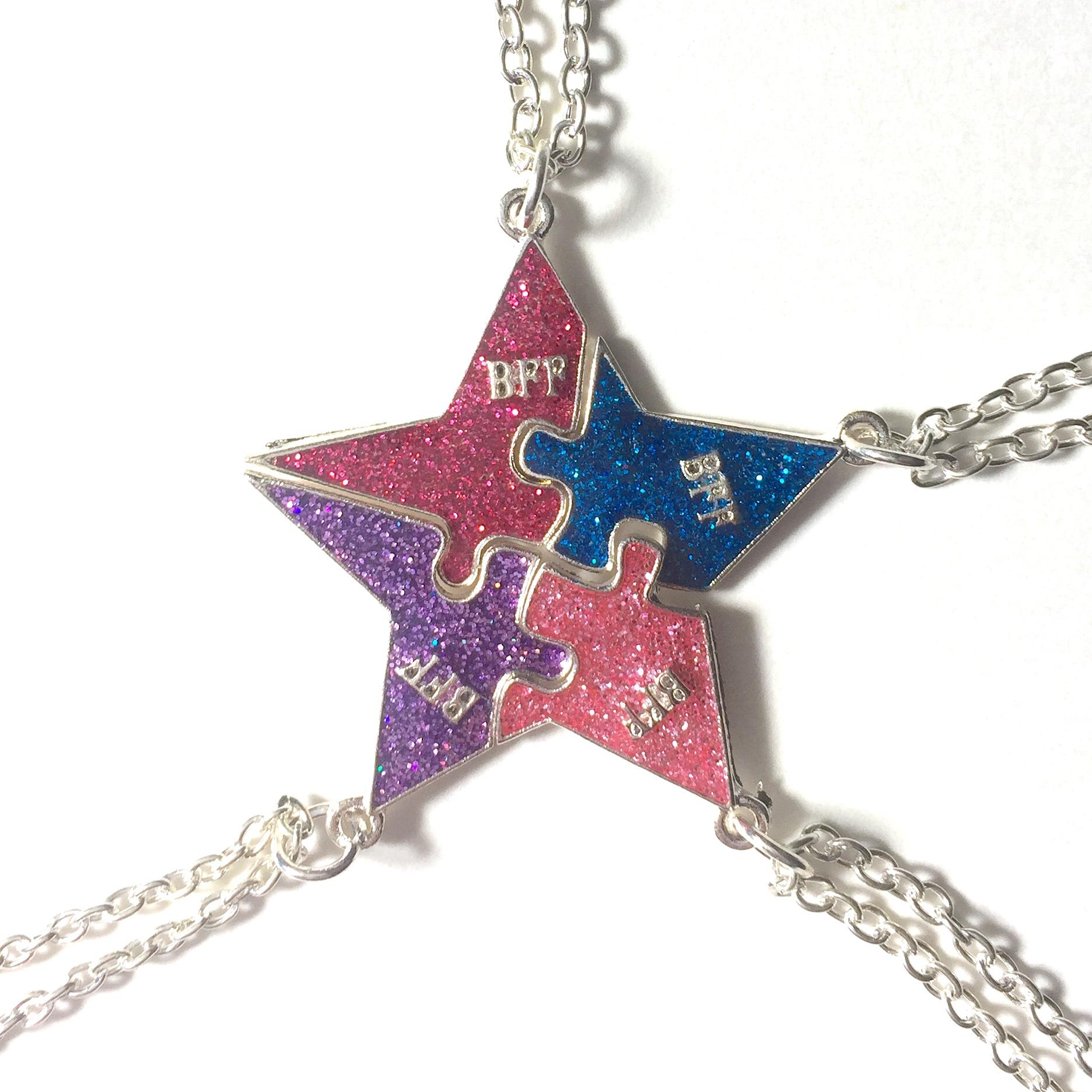 Four Piece BFF Star Necklace Set