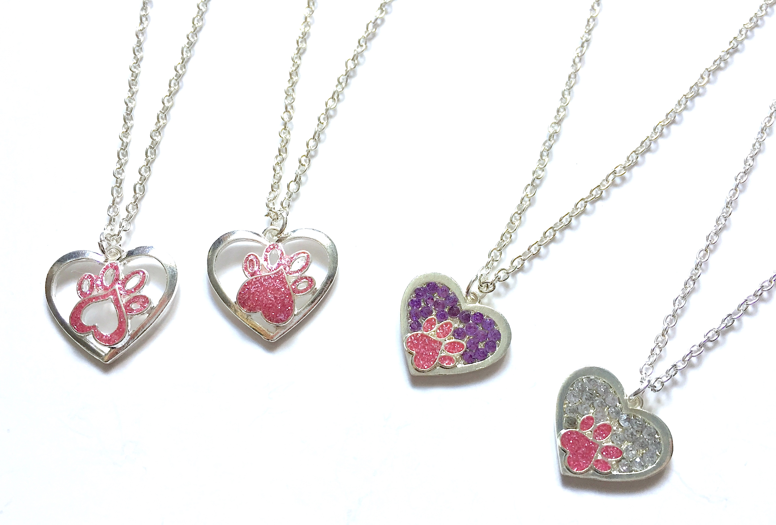 Paw Print Heart Necklaces