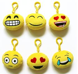 Plush Emoji Backpack Clips
