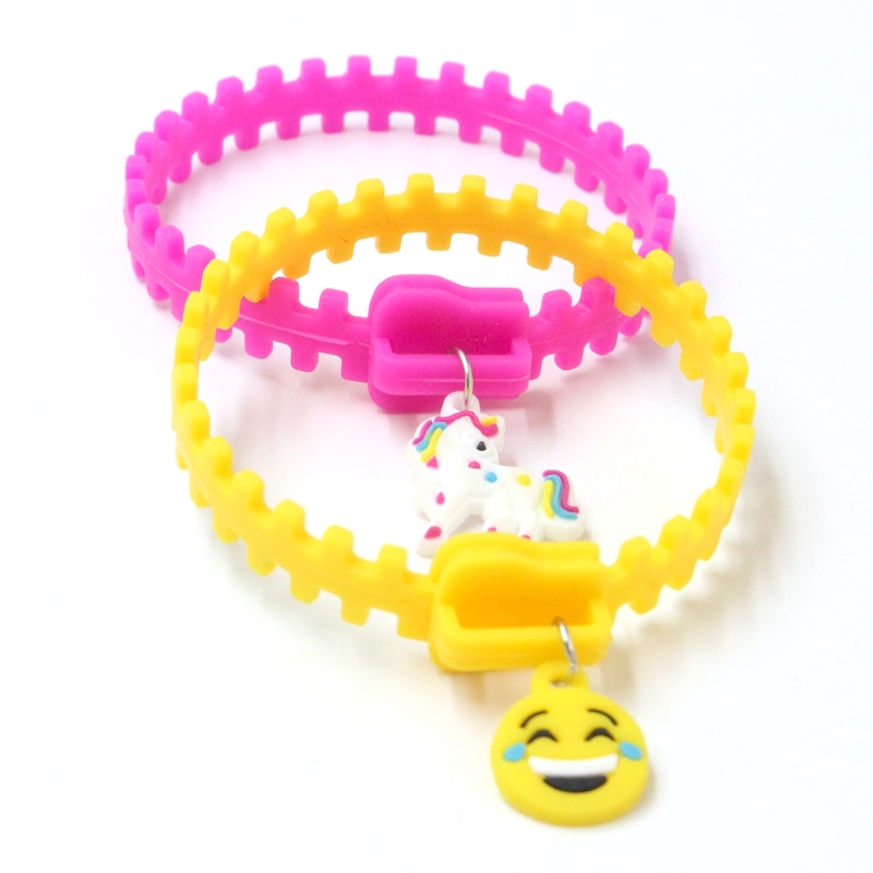Silicone Zipper Bracelets with Charm