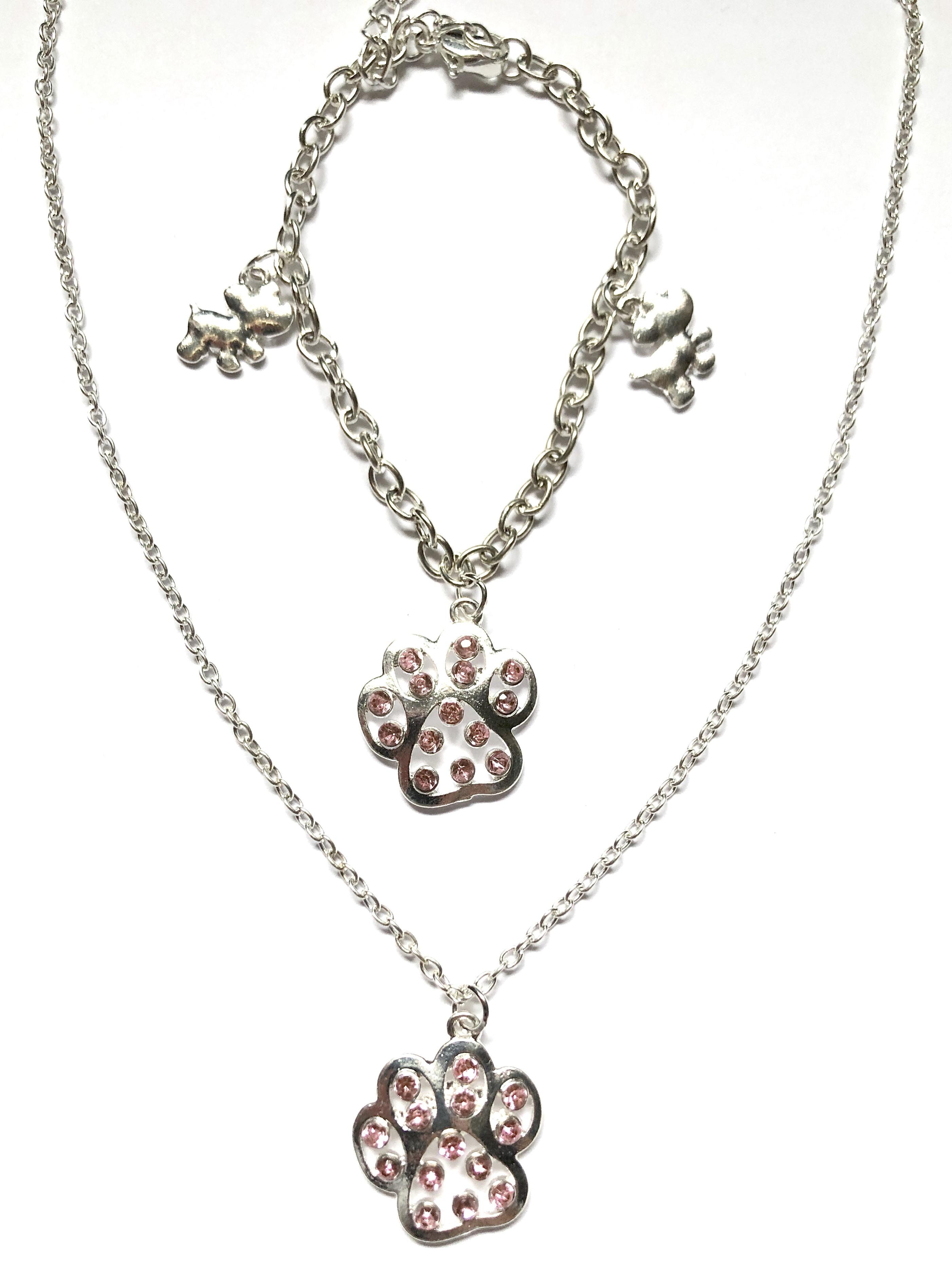 Paw Print Necklace & Bracelet