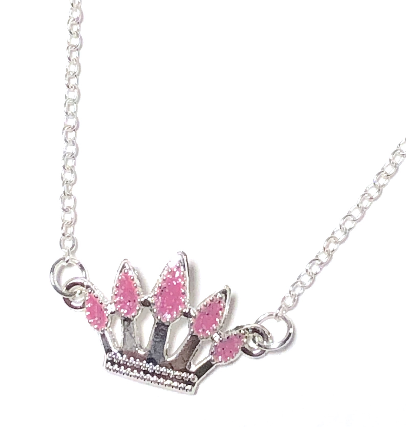 Pink Glitter Crown Necklace