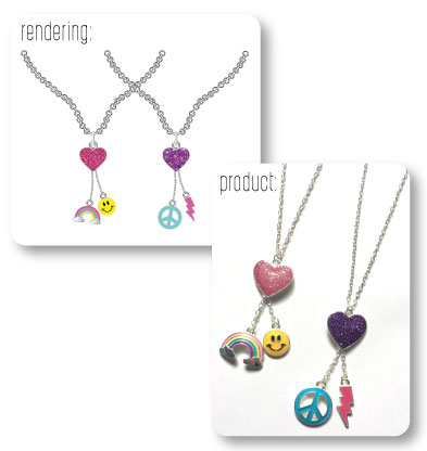 Multi Charm Necklace Renderings