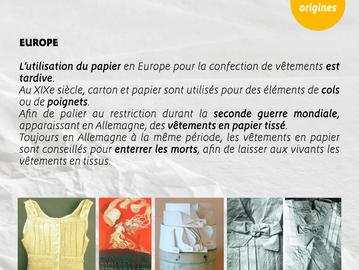 Les origines des vêtements en papier.    L' Europe