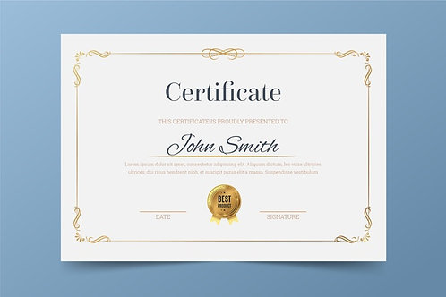 A4 Certificates w/ Gold or Silver Foil