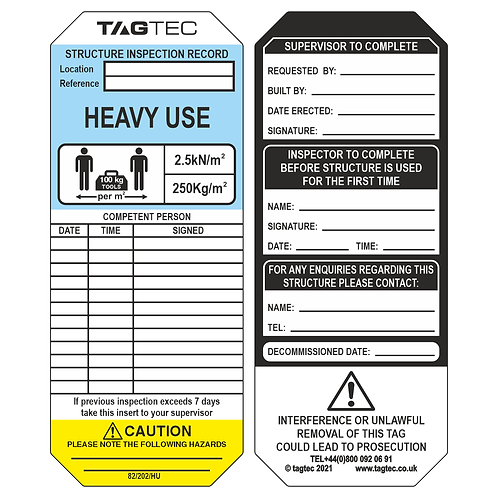 82/202/HU - Heavy Use Tags x 50