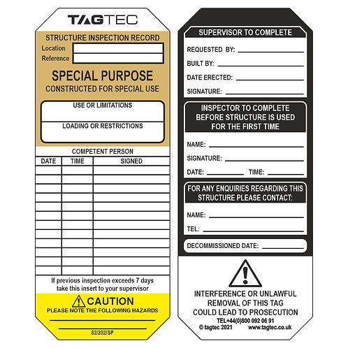 82/202/SP - Special Purpose Tags x 50