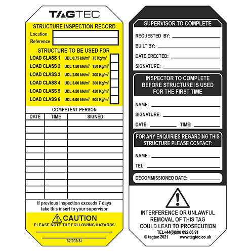 82/202/SI - Scaffolding Inspection Tags x 50