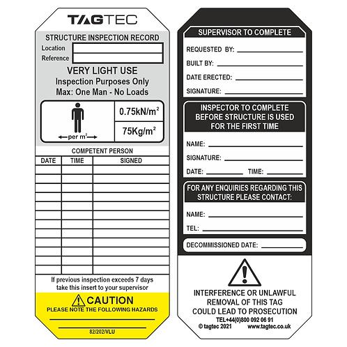 82/202/VLU - Very Light Use Tags x 50