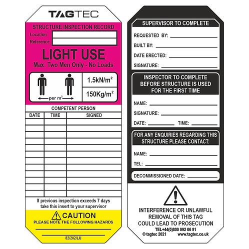 82/202/LU - Light Use Tags x 50