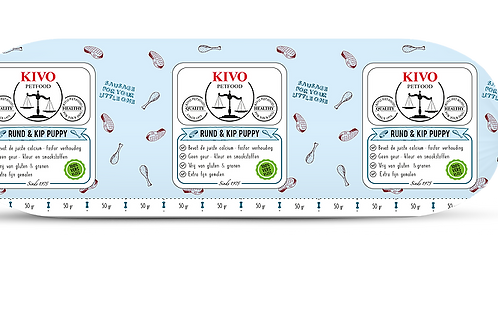 Kivo Petfood versvlees rund & kip puppy 1 kg (per doos 10kg)