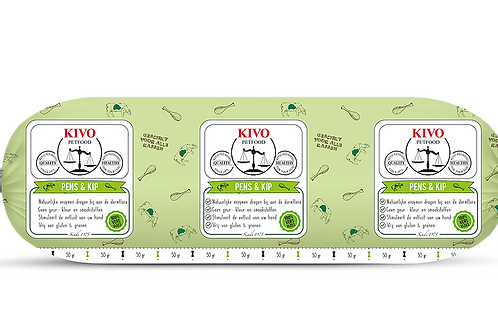 Kivo Petfood versvlees Pens & kip mix 500 gram (per doos)