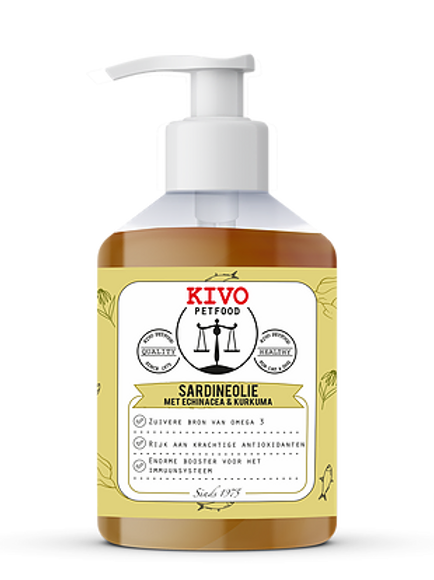 Kivo Petfood Sardineolie met Echinacea & Kurkuma