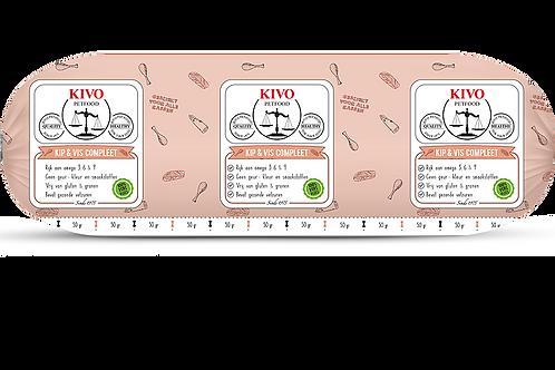 Kivo Petfood versvlees Vis en Kip Compleet 500 gram (per stuk)