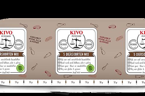 Kivo Petfood versvlees 5 diersoorten kilo (per doos 10kg)