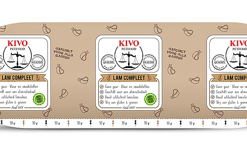 Kivo Petfood versvlees Lam compleet 500 gram (per doos 10kg)