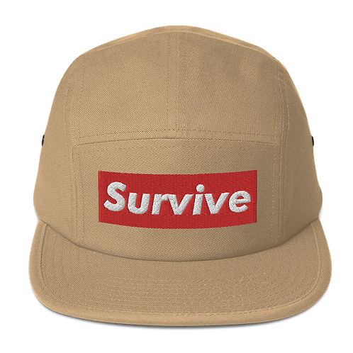 """Survive"" Embroidered Five Panel Cap"