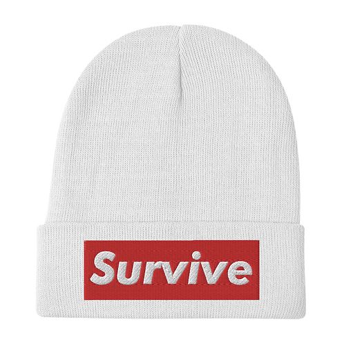 """Survive"" Embroidered Beanie"