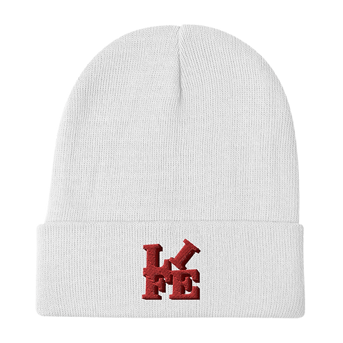 """""""LIFE"""" Red Embroidered Beanie"""